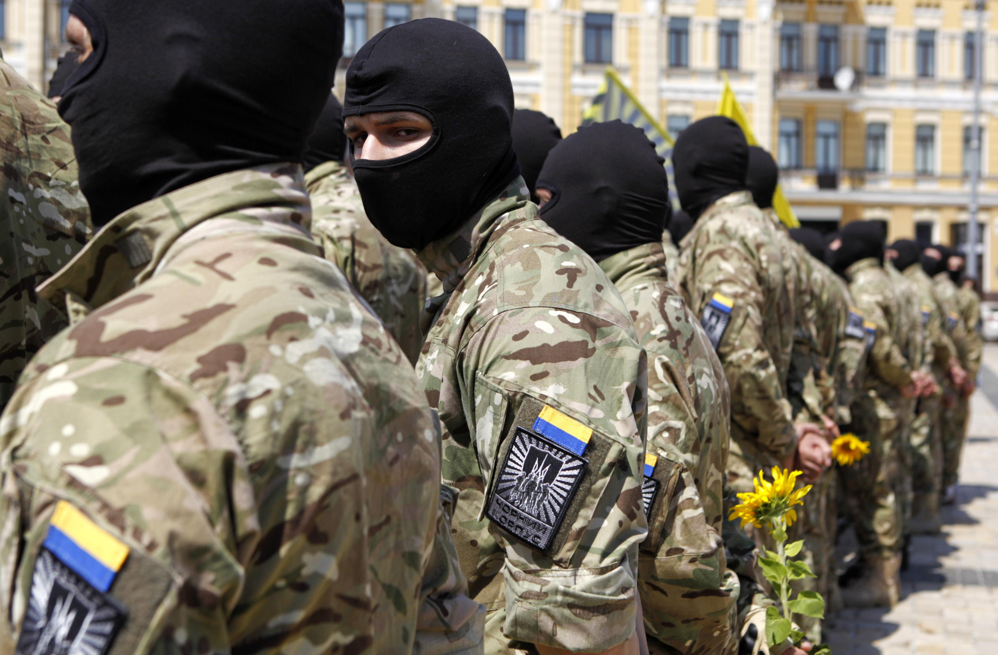 "New volunteers of Ukrainian self-defence battalion ""Azov"" stand at attention in Kiev"