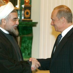 PRESIDENT PUTIN MEETS IRAN'S ROWHANI IN THE KREMLIN.