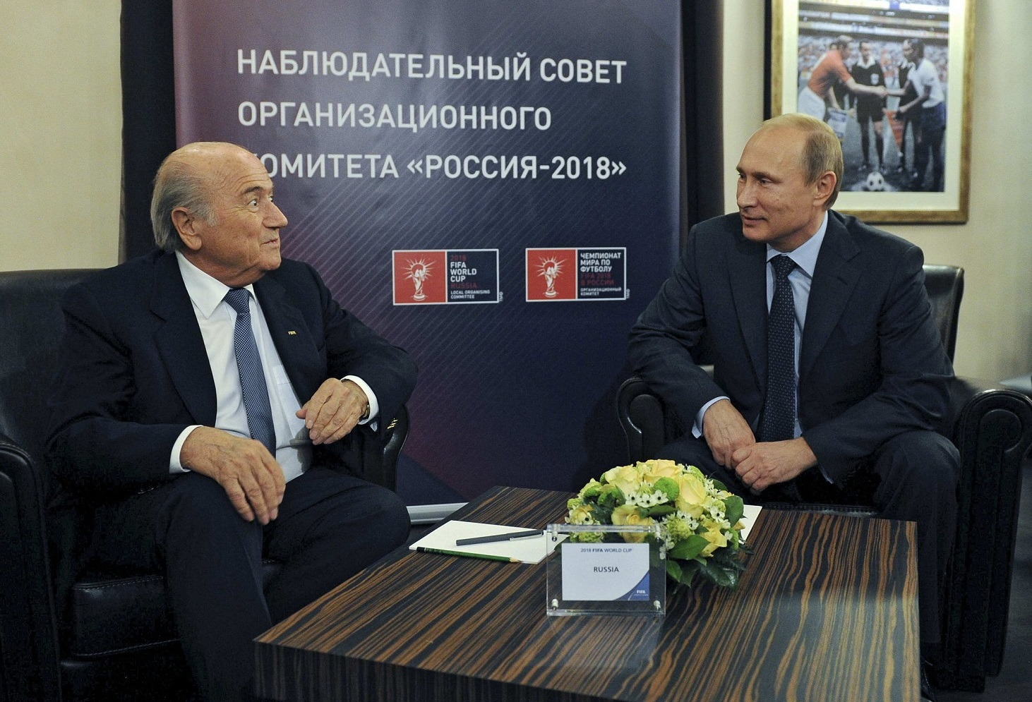 FIFA President Blatter talks with Russia's President Putin during a meeting in Moscow