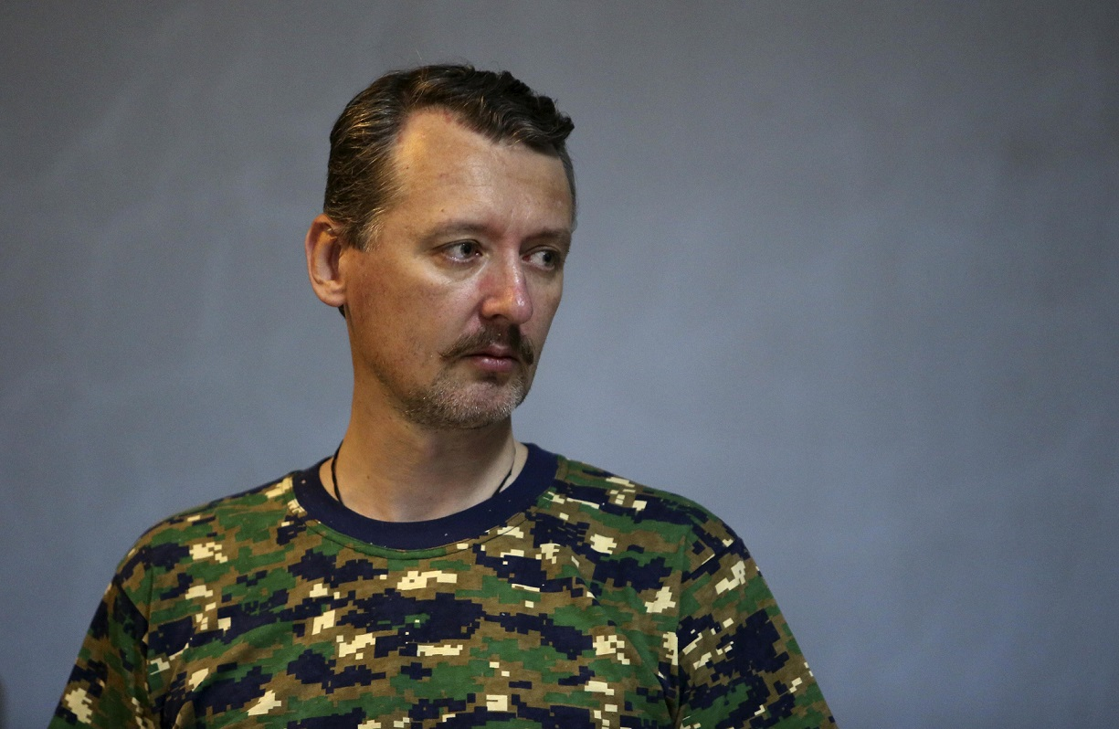 Pro-Russian military commander Igor Strelkov attends a news conference in the eastern Ukrainian city of Donetsk