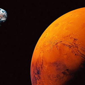 Planet Mars, Earth visible in background (Digital Composite)