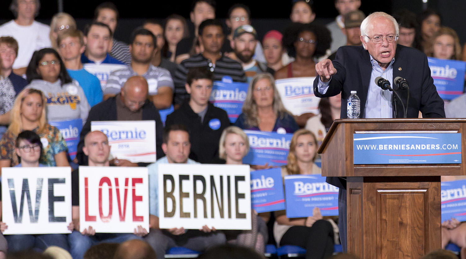 Democratic presidential candidate Sen. Bernie Sanders, I-Vt., speaks during a rally at the Greensboro Coliseum Special Events Center in Greensboro, N.C., Sunday, Sept. 13, 2015. (AP Photo/Rob Brown)