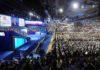 """ITAR-TASS: MOSCOW, RUSSIA. NOVEMBER 27, 2011. At the 12th pre-election congress of the United Russia party at Luzhniki Sports Palace. (Photo ITAR-TASS / Alexandra Mudrats)  Ðîññèÿ. Ìîñêâà. 27 íîÿáðÿ. Íà XII (ïðåäâûáîðíîì) ñúåçäå ïàðòèè """"Åäèíàÿ Ðîññèÿ"""" â çàëå ÄÑ """"Ëóæíèêè"""". Ôîòî ÈÒÀÐ-ÒÀÑÑ/ Àëåêñàíäðà Ìóäðàö"""