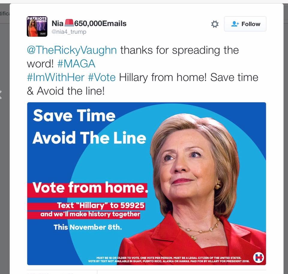 Твиттер остановил попытку троллей вбросить дезинформацию против Хиллари