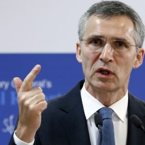 NATO Secretary General Jens Stoltenberg gestures as he addresses a news conference at the Alliance headquarters in Brussels January 30, 2015. REUTERS/Francois Lenoir (BELGIUM - Tags: POLITICS MILITARY) - RTR4NKJY