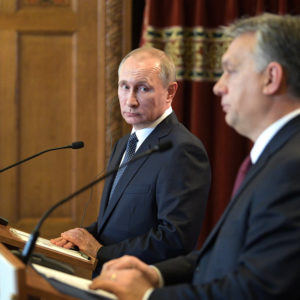 February 2, 2017 - Budapest, Hungary - Russian President Vladimir Putin during a press conference with Hungarian Prime Minister Viktor Orban, right, in the Parliament building February 2, 2017 in Budapest, Hungary. (Credit Image: Global Look Press via ZUMA Press)
