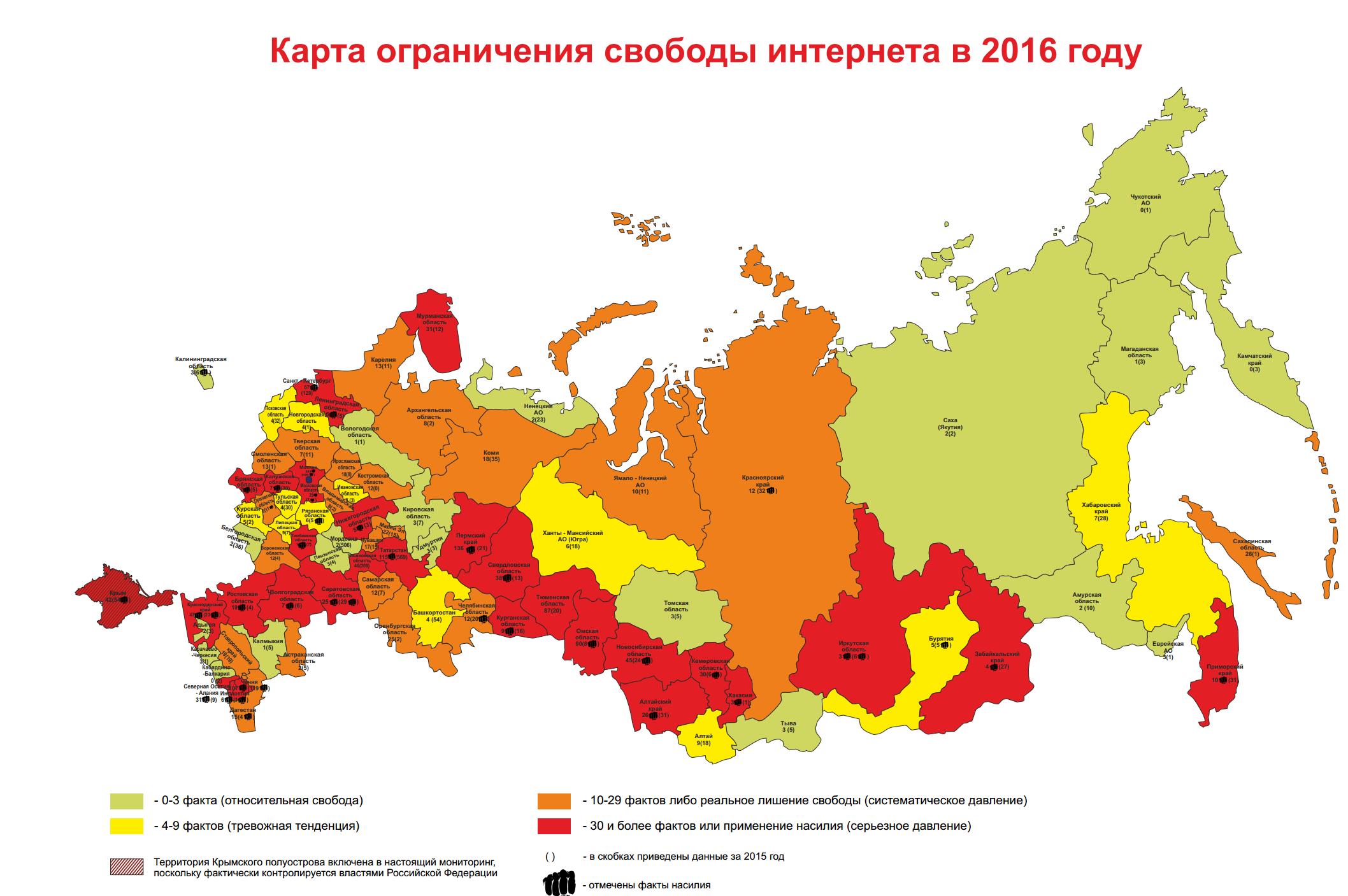 Число ограничений свободы Рунета за последний год увеличилось в 8 раз— исследование