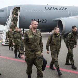 VILNIUS, April 6, 2016 (Xinhua) -- German soldiers arrive at the airport in Vilnius, Lithuania, on April 6, 2016. More than 600 rotational troops and several hundred military vehicles of German forces are to be deployed in Lithuania throughout this year, announced the Lithuanian Defense Ministry on Wednesday. (Xinhua/Alfredas Pliadis) (Credit Image: Global Look Press via ZUMA Press)