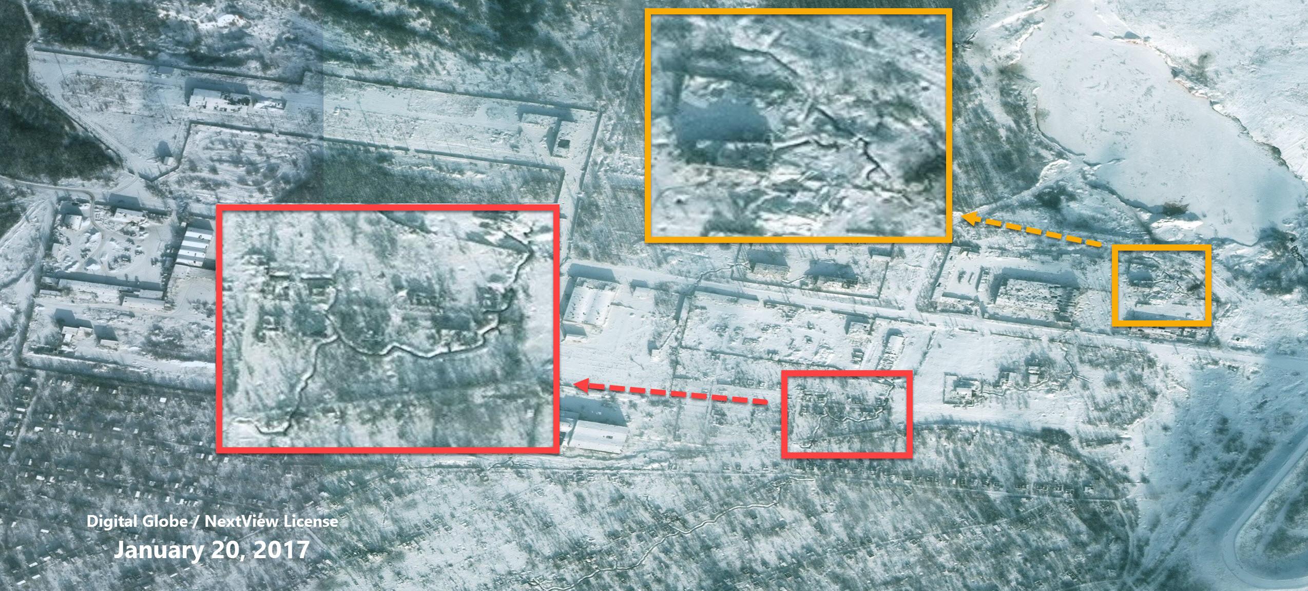 Фрагмент окопов в восточной части Авдеевской промзоны 20 января 2017 года (Digital Globe / NextView License)