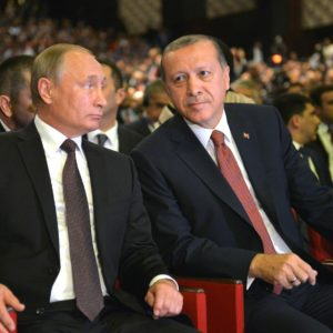October 10, 2016. - Turkey, Istanbul. - From left: Presidents Vladimir Putin of Russia and Recep Tayyip Erdogan of Turkey attending the 23rd World Energy Congress in Istanbul.
