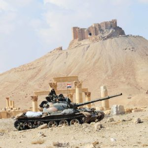 PALMYRA, March 5, 2017 A Syrian army tank guards the ancient city of Palmyra, central Syria, on March 4, 2017. The Syrian army announced in a statement that the Syrian forces captured the ancient city of Palmyra in central Syria on Thursday after battles with the Islamic State (IS) group. gj) (Credit Image: Global Look Press via ZUMA Press)