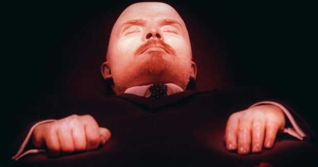 Vladimir Lenin, founder of the Soviet Union, lays embalmed in his tomb on Moscow's Red Square Wednesday April 16, 1997 six days before his 127th April 22 birthday. After Lenin's mausoleum was closed for six weeks recently for the body's annual makeover, scientists said the mummified body can be kept in good condition for centuries, as long as regular treatment continues. Meanwhile, politicans have sparred over whether the proletarian leader should receive a proper burial. The controversy, which originally flared during the decline of the communist regime, was reopened by President Boris Yeltsin in March when he suggested that Lenin's remains should be buried in St. Petersburg alongside his mother.(AP Photo/Sergei Karpukhin)
