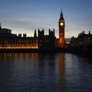 February 24, 2017 - London, UK - London, UK. The sun sets behind the Houses of Parliament as seen from Westminster Bridge. (Credit Image: Global Look Press via ZUMA Press)