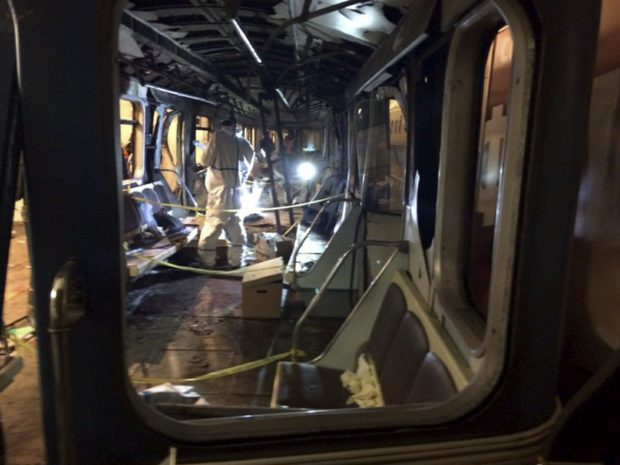 April 4, 2017. - Russia. Russian Health Minister Veronika Skvortsova said at least 14 people had been killed and 49 others were injured in an explosion of an unknown explosive device with destructive elements in St. Petersburg metro. In picture: train car, where the explosion took place.