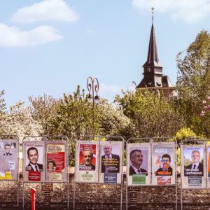 April 20, 2017 - Saint-Philbert-Des-Champs, france - Affiches des candidats a l election presidentielle 2017 ..Les 4 principaux candidats francois fillon - jean luc melenchon - marine le pen - emmanuel macron - les affiches sont taguees (Credit Image: Global Look Press via ZUMA Press)