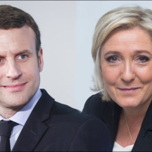 April 24, 2017 - Montage des deux candidats .Emmanuel Macron - candidat du parti En Marche et Marine Le Pen - candidate FN aux elections presidentielles (Credit Image: Global Look Press via ZUMA Press)
