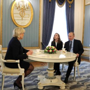 March 24, 2017 - Moscow, Russia - Russian President Vladimir Putin and French Front National candidate Marine Le Pen, left, hold an unscheduled meeting at the Kremlin March 24, 2017 in Moscow, Russia. The meeting is expected to fuel fears in Europe about Russian support for the European far right. (Credit Image: Global Look Press via ZUMA Press)
