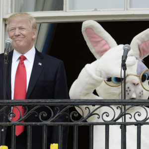 United States President Donald Trump makes remarks as he attends the annual Easter Egg Roll on the South Lawn of the White House  in Washington, DC, on April 17, 2017. Photo Credit: Olivier Douliery/CNP/AdMedia