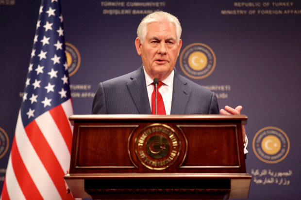 March 30, 2017 - Ankara, Turkey - U.S. Secretary of State Rex Tillerson comments during a joint press conference with Turkish Foreign Minister Mevlut Cavusoglu at the Ministry of Foreign Affairs March 30, 2017 in Ankara, Turkey. Tillerson failed in his mission to soothe relations with Turkey on a wide variety of issues. (Credit Image: Global Look Press via ZUMA Press)