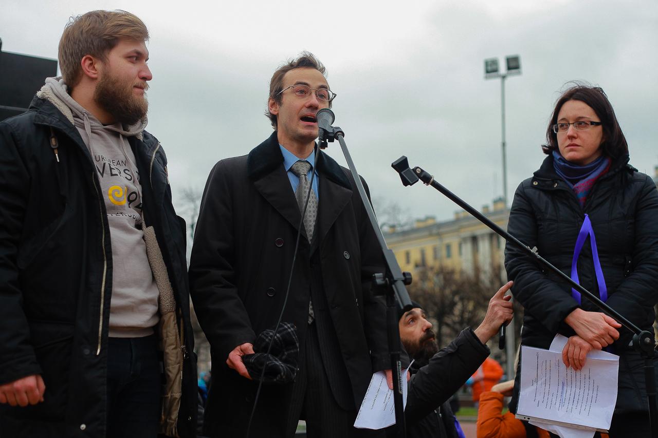 «Уберите руки от дворца науки». В Петербурге прошел митинг в защиту Европейского университета. Фоторепортаж