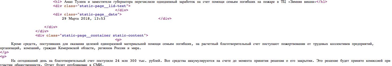 Тулеев и его заместители перечислили свой однодневный заработок семьям жертв пожара в «Зимней вишне»