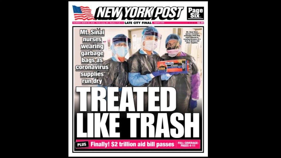 Фейк НТВ: в Нью-Йорке медики вынуждены работать в мешках для мусора вместо защитных костюмов